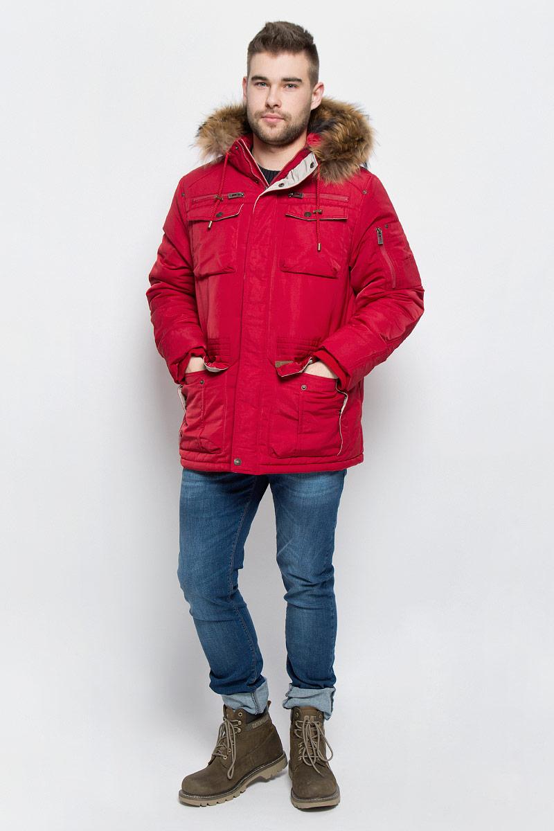 Куртка мужская Baon, цвет: темно-красный. B536522. Размер L (50)B536522_RUBINМужская куртка Baon изготовлена из высококачественного полиэстера. В качестве утеплителя и подкладки используется полиэстер.Куртка с несъемным капюшоном застегивается на застежку-молнию с двумя бегунками и дополнительно имеет ветрозащитную планку на кнопках. Капюшон оснащен шнурками со стопперами и оформлен натуральным мехом, который пристегивается к нему за счет кнопок. Низ рукавов дополнен эластичными манжетами. Объем по линии талии регулируется с помощью эластичного шнурка со стоппером. Спереди имеется шесть накладных карманов с клапанами на кнопках и два прорезных кармана на застежках-молниях, с внутренней стороны - два прорезных кармана на застежках-молниях. На левом рукаве расположен накладной карманна застежке-молнии. Модель оформлена фирменными нашивками.