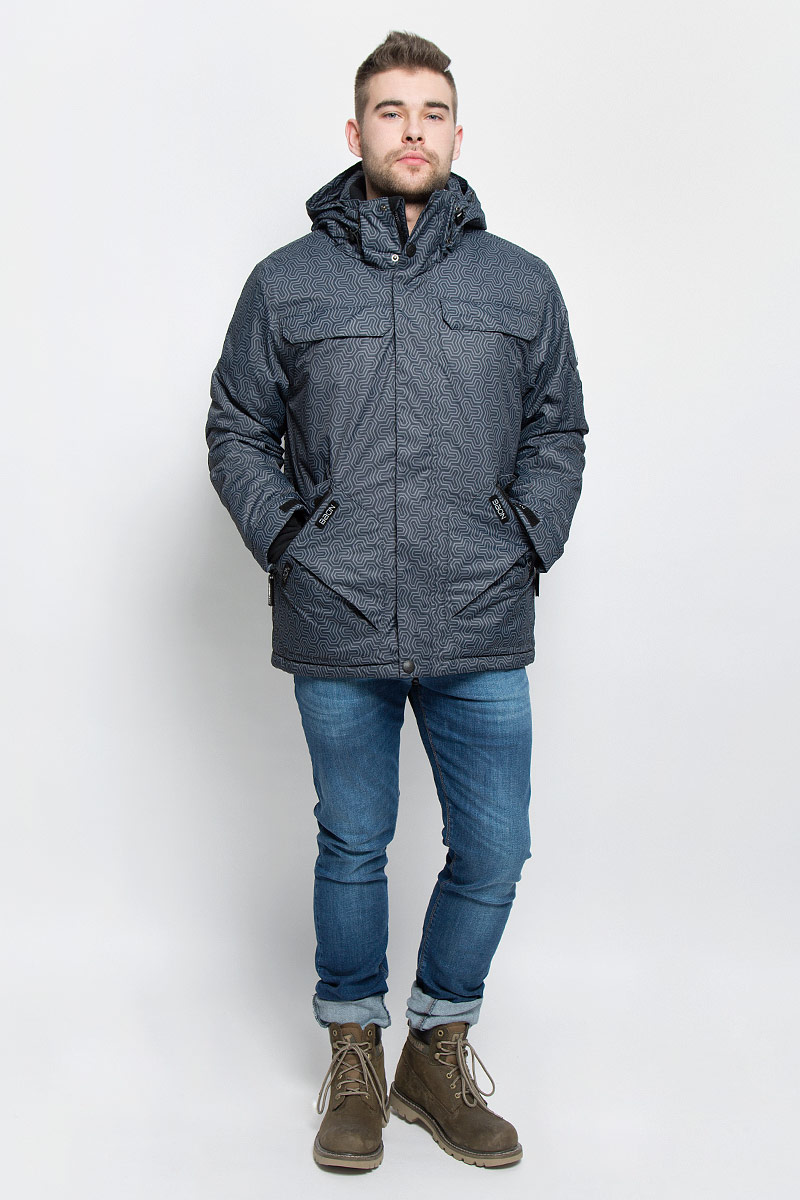 Куртка мужская Baon, цвет: серый, светло-серый. B536902. Размер L (50)B536902_ASPHALT PRINTEDМужская куртка Baon изготовлена из высококачественного полиэстера. В качестве утеплителя используется полиэстер.Куртка с воротником-стойкой и съемным капюшоном застегивается на застежку-молнию с защитой для подбородка и дополнительно имеет ветрозащитный клапан на липучках и кнопках. Капюшон оснащен эластичными шнурками со стопперами и пристегивается к куртке с помощью застежки-молнии. Низ рукавов дополнен хлястиками на липучках. Под рукавом расположена застежка-молния и сетчатый материал для дополнительной вентиляции. Низ изделия дополнен съемной ветрозащитной планкой на кнопках. Объем по низу регулируется с помощью эластичного шнурка со стоппером. Спереди имеются четыре прорезных кармана на застежках-молниях с клапанами на липучках, с внутренней стороны - прорезной карман на застежке-молнии и небольшой накладной карман-сетка и накладной карман на липучке. На левом рукаве расположен небольшой прорезной карман на застежке-молнии и накладной карман с клапаном на липучке. Куртка оформлена фирменными нашивками.
