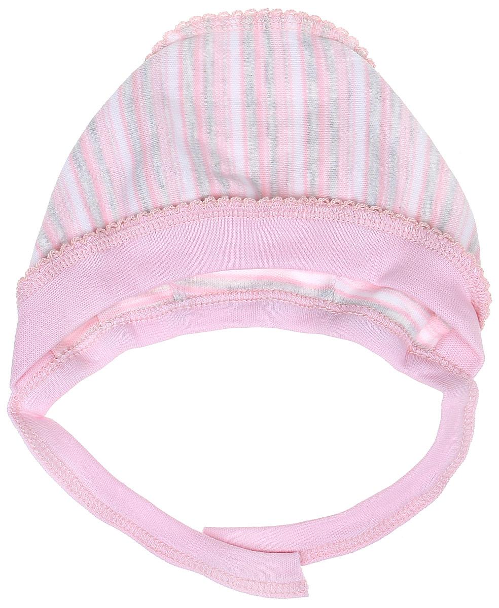 Чепчик Фреш Стайл, цвет: розовый в полоску. 39-123. Размер 40, 0-3 года