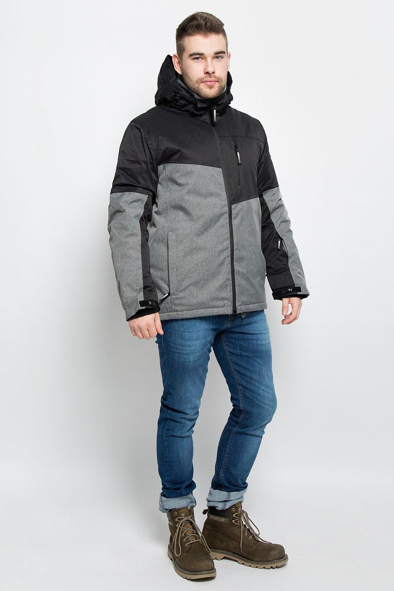 Куртка мужская Baon, цвет: черный, серый. B536904. Размер XXL (54/56)B536904_BLACK-GREYМужская куртка Baon изготовлена из высококачественного полиэстера. В качестве утеплителя используется полиэстер.Куртка с воротником-стойкой и съемным капюшоном застегивается на застежку-молнию с двумя бегунками и защитой для подбородка, а также дополнительно имеет внутреннюю ветрозащитную планку. Капюшон оснащен эластичными шнурками со стопперами и пристегивается к куртке с помощью застежки-молнии. Рукава дополнены внутренними эластичными манжетами с отверстиями для больших пальцев и хлястиками на липучках. Под рукавом расположена застежка-молния и сетчатый материал для дополнительной вентиляции. Низ изделия дополнен съемной ветрозащитной планкой на кнопках. Объем по низу регулируется с помощью эластичного шнурка со стоппером. Спереди имеются три прорезных кармана на застежках-молниях, с внутренней стороны - прорезной карман на застежке-молнии и небольшой накладной карман-сетка на кнопке. На левом рукаве расположен небольшой прорезной карман на застежке-молнии . Куртка оформлена фирменными нашивками.