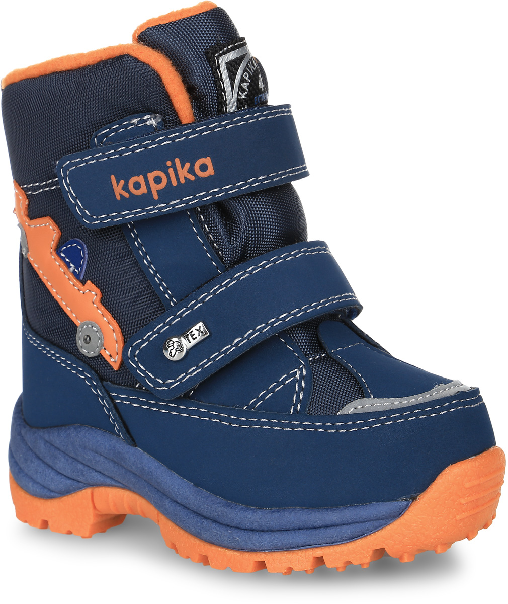Ботинки для мальчика Kapika, цвет: темно-синий, оранжевый. 41151-2. Размер 2441151-2Ботинки от Kapika выполнены из искусственной кожи со вставками из водонепроницаемого текстиля. Боковая сторона оформлена аппликацией в виде машинки. Модель на застежках-липучках. Подкладка и стелька изготовлены из шерстяного меха и текстиля, а также имеется прослойка из мембранных материалов. Подошва из полимерного термопластичного материала оснащена рифлением.