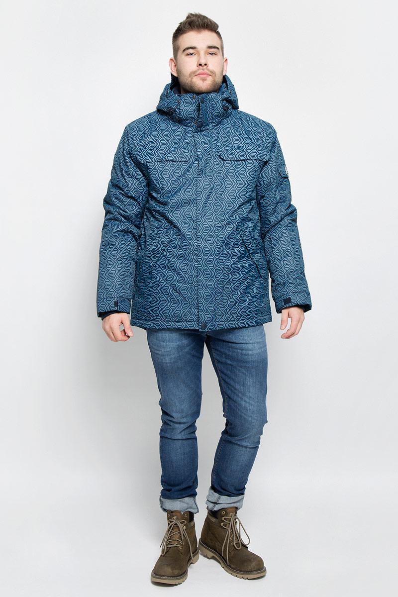 Куртка мужская Baon, цвет: черный, сине-голубой. B536902. Размер XL (52)B536902_DEEP NAVY PRINTEDМужская куртка Baon изготовлена из высококачественного полиэстера. В качестве утеплителя используется полиэстер.Куртка с воротником-стойкой и съемным капюшоном застегивается на застежку-молнию с защитой для подбородка и дополнительно имеет ветрозащитный клапан на липучках и кнопках. Капюшон оснащен эластичными шнурками со стопперами и пристегивается к куртке с помощью застежки-молнии. Низ рукавов дополнен хлястиками на липучках. Под рукавом расположена застежка-молния и сетчатый материал для дополнительной вентиляции. Низ изделия дополнен съемной ветрозащитной планкой на кнопках. Объем по низу регулируется с помощью эластичного шнурка со стоппером. Спереди имеются четыре прорезных кармана на застежках-молниях с клапанами на липучках, с внутренней стороны - прорезной карман на застежке-молнии и небольшой накладной карман-сетка и накладной карман на липучке. На левом рукаве расположен небольшой прорезной карман на застежке-молнии и накладной карман с клапаном на липучке. Куртка оформлена фирменными нашивками.