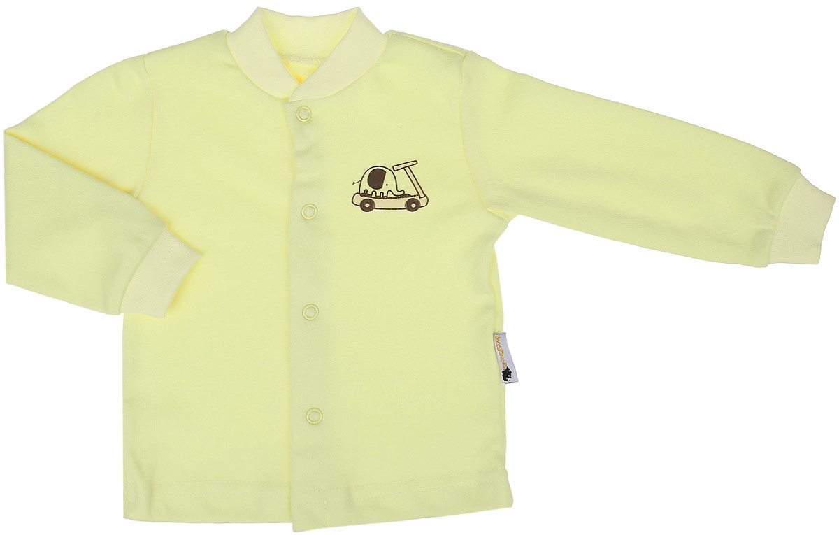 Кофточка детская Клякса, цвет: светло-желтый. 37-261. Размер 62, до 3 месяцев37-261Кофточка для новорожденного Клякса послужит идеальным дополнением к гардеробу вашего ребенка, обеспечивая ему наибольший комфорт. Изготовленная из натурального хлопка, она необычайно мягкая и легкая, не раздражает нежную кожу ребенка и хорошо вентилируется, а эластичные швы приятны телу младенца и не препятствуют его движениям.Модель с длинными рукавами имеет круглый вырез горловины, дополненный мягкой трикотажной резинкой. Удобные застежки-кнопки по всей длине помогают легко переодеть ребенка. На рукавах предусмотрены трикотажные манжеты, не пережимающие ручки. Изделие оформлено оригинальным принтом с изображением забавных животных. Кофточка полностью соответствует особенностям жизни младенца в ранний период, не стесняя и не ограничивая его в движениях. В ней ваш ребенок всегда будет в центре внимания.