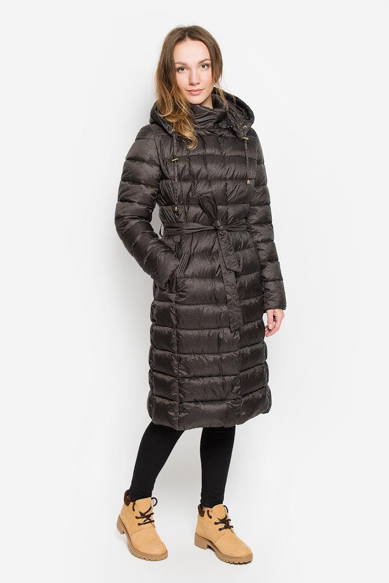 Пальто женское Grishko, цвет: темно-коричневый. AL-2967. Размер M (46)AL-2967Женское пальто Grishko с длинными рукавами, воротником-стойкой и съемным капюшоном на застежке-молнии выполнено из полиамида. Наполнитель - синтепон. Капюшон дополнен втачным шнурком-кулиской со стопперами.Пальто застегивается на застежку-молнию спереди, оснащено ветрозащитным клапаном на кнопках. Изделие дополнено двумя втачными карманами на застежках-молниях спереди. Пальто оснащено узким поясом. Модель украшена принтом с оригинальным орнаментом. Теплоизоляция до -15°С.