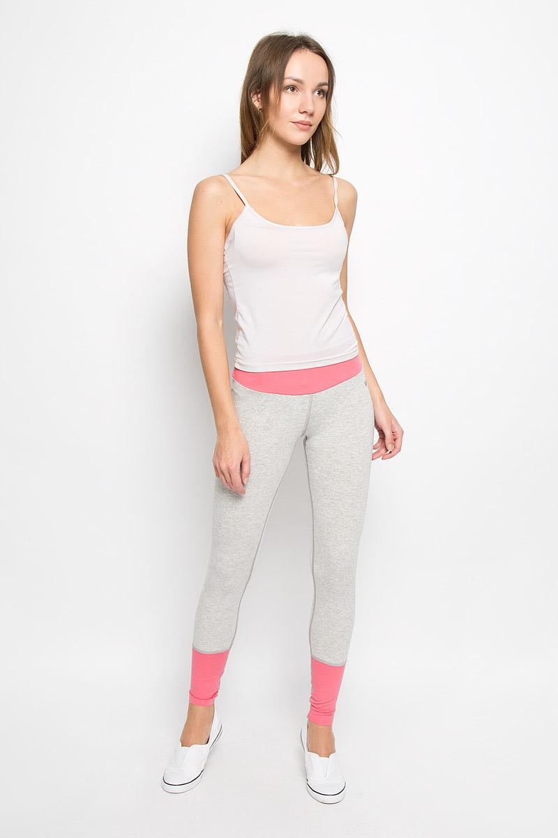 Лосины для йоги женские Grishko, цвет: светло-серый, розовый. AL-2936. Размер L (48)AL-2936Спортивные лосины с высоким корректирующим поясом. Модель выполнена из приятной на ощупь вискозы с лайкрой и оформлена контрастными вставками.