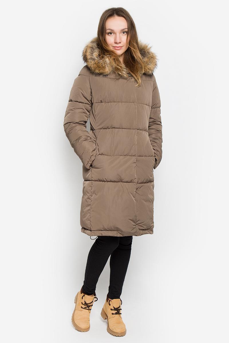 Пальто женское Grishko, цвет: серо-коричневый. AL-2966/1. Размер XS (42)AL-2966/1Стильное женское пальто Grishko изготовлено из высококачественного материала. В качестве утеплителя используется полиэфирное волокно - искусственный пух. Пальто с несъемным капюшоном, оформленным съемным натуральным мехом енота, застегивается на пластиковую молнию и дополнительно на ветрозащитный клапан с кнопками. Спереди расположены два прорезных кармана на застежках-молниях. Нижняя часть модели регулируется с помощью эластичного шнурка.