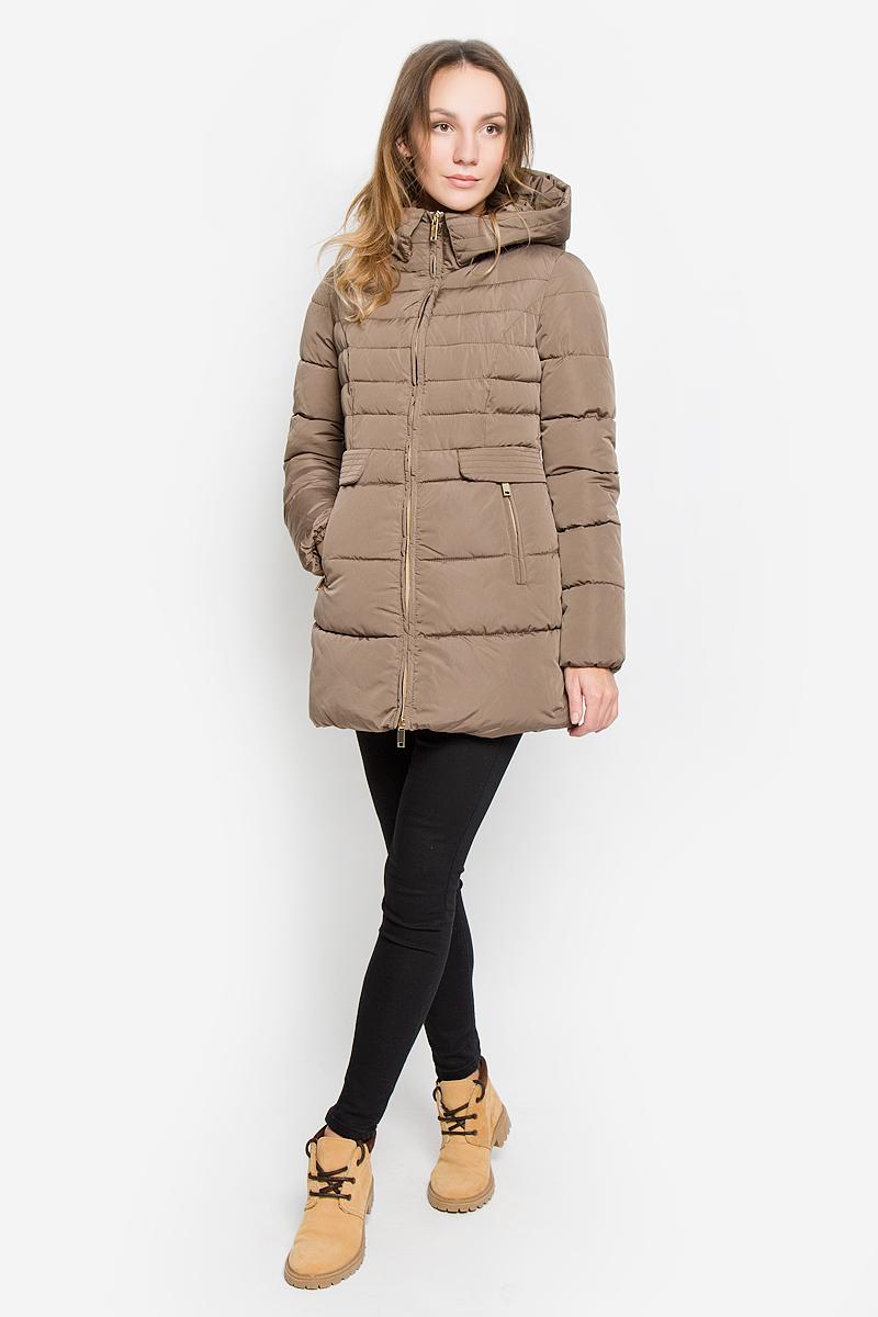 Пальто женское Grishko, цвет: серо-коричневый. AL-2964. Размер L (48)AL-2964Стильное женское пальто Grishko изготовлено из высококачественного материала. В качестве утеплителя используется полиэфирное волокно. Пальто приталенного кроя с несъемным капюшоном, дополненным эластичным шнурком, застегивается на пластиковую молнию. Спереди расположены два прорезных кармана на застежках-молниях, оформленные декоративными клапанами на кнопках. Манжеты рукавов присборены резинкой.