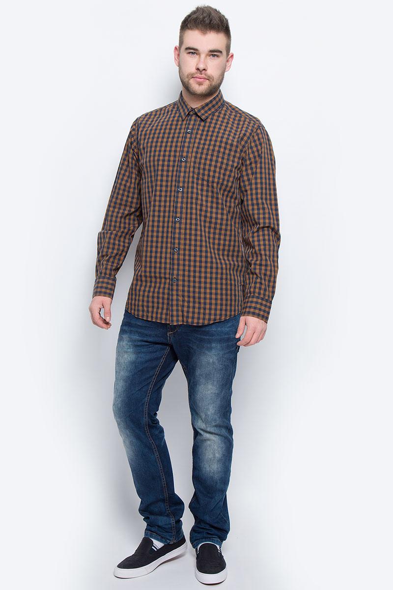 Рубашка мужская Broadway, цвет: коричневый, темно-синий. 20100438_725. Размер XL (52)20100438_725Мужская рубашка Broadway выполнена из натурального хлопка. Рубашкас длинными рукавами и отложным воротником застегивается на пуговицы спереди. Манжеты рукавов также застегиваются на пуговицы. Рубашка оформлена принтом в клетку. На груди расположен накладной карман.