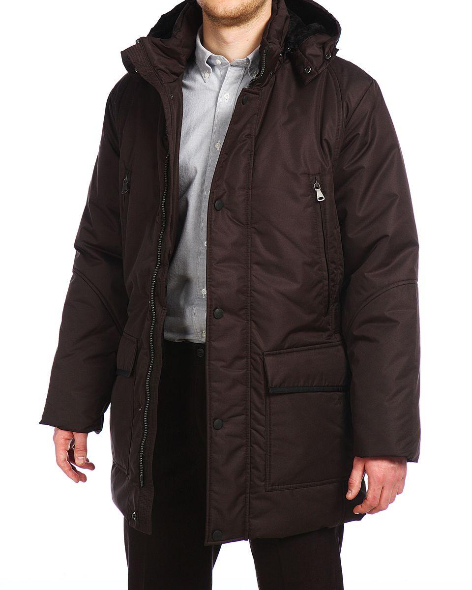 Куртка мужская Xaska, цвет: темно-коричневый. 14421. Размер 4614421_BrownМужская куртка Xaska изготовлена из высококачественного полиэстера. В качестве утеплителя используется холлофайбер. Куртка с съемным капюшоном застегивается на застежку-молнию, а также дополнительно имеет ветрозащитную планку на кнопках. Капюшон оснащен текстильным шнурком со стопперами. Рукава дополнены внутренними эластичными манжетами. Спереди имеются шесть карманов на застежках-молниях и кнопках, внутри расположены два прорезных кармана на застежках-молниях. По бокам куртка регулируется при помощи хлястика с металлическими фиксаторами.