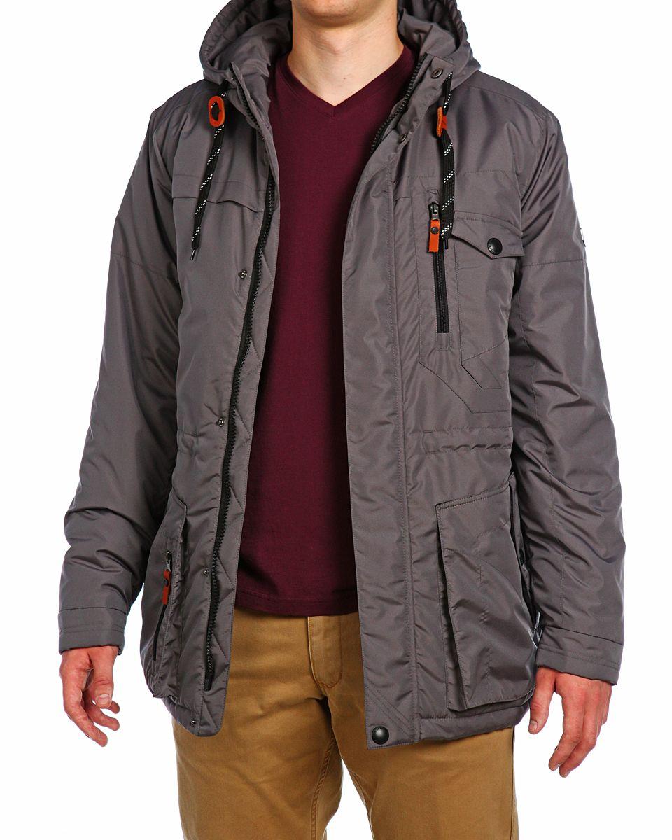 Куртка мужская Xaska, цвет: темно-сеpый. 15510. Размер 4815510_Dark GreyМужская куртка Xaska изготовлена из высококачественного полиэстера. В качестве утеплителя используется полиэстер. Куртка с несъемным капюшоном застегивается на застежку-молнию, а также дополнительно имеет ветрозащитную планку на кнопках. Капюшон оснащен текстильным шнурком со стопперами. Объем по низу и талии регулируется с помощью эластичного шнурка со стопперами. Спереди имеются пять карманов на застежках-молниях и кнопках, внутри расположены два кармана на застежках-молниях. На левом рукаве расположена небольшая металлическая пластина с названием бренда.