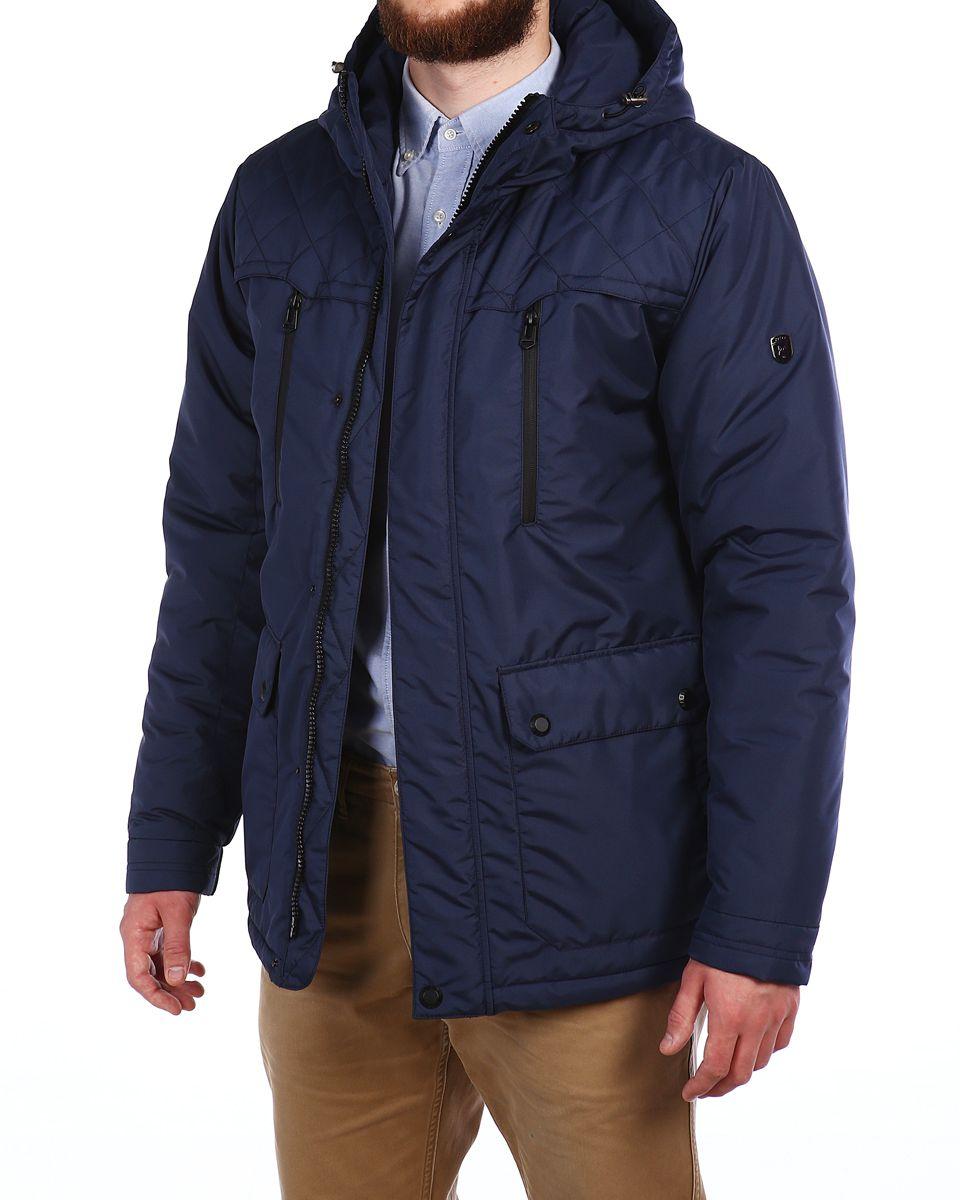 Куртка мужская Xaska, цвет: темно-синий. 16602. Размер 5616602_Blue GraphiteМужская куртка Xaska выполнена из 100% полиэстера. В качестве подкладки также используется полиэстер, а в качестве утеплителя - термофинн. Термофинн разработан специально для российских условий и содержит сертифицированные безопасные компоненты и гипоаллерген. Такой материал долговечен и надежен, выдерживает большое количество стирок и отлично сохраняет форму, а также быстро высыхает после намокания. Модель с несъемным капюшоном застегивается на застежку-молнию с двумя бегунками и имеет ветрозащитную планку на кнопках. Край капюшона дополнен эластичным шнурком-кулоской со стоплерами. Манжеты рукавов дополнены эластичными вставками, а низ изделия - эластичным шнурком-кулиской со стоплерами. Спереди расположено два накладных кармана с клапанами на кнопках, два открытых боковых кармана и два прорезных кармана на застежках-молниях, а с внутренней стороны - два прорезеных кармана на застежках-молниях. Куртка оформлена фирменной металлической нашивкой.
