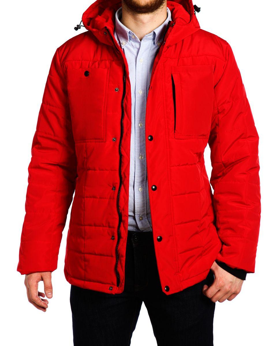 Куртка мужская Xaska, цвет: кpасный. 15506. Размер 5615506_Urban RedМужская куртка Xaska изготовлена из высококачественного полиэстера. В качестве утеплителя используется полиэстер. Куртка с несъемным капюшоном застегивается на застежку-молнию, а также дополнительно имеет ветрозащитную планку на кнопках. Капюшон оснащен текстильным шнурком со стопперами. Рукава дополнены внутренними эластичными манжетами. Спереди расположены два накладных кармана и три прорезных. Внутри изделие дополнено двумя прорезными карманами на застежках-молниях.