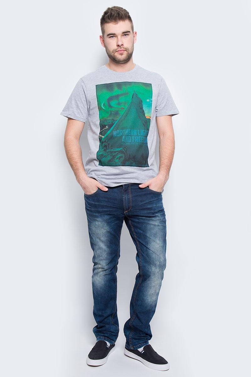 Футболка мужская Sela Casual Wear, цвет: серый меланж. Ts-211/1094-6436. Размер S (46)Ts-211/1094-6436Мужская футболка Sela Casual Wear с короткими рукавами и круглым вырезом горловины выполнена из натурального хлопка. Футболка украшена крупным принтом с изображением альпиниста на вершине горы под северным сиянием.