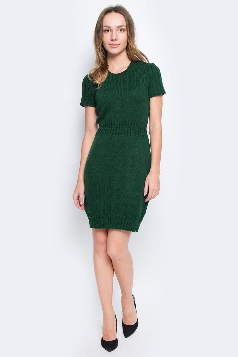 Платье Milana Style, цвет: зеленый. 1364. Размер XS (42)1364Платье Milana Style выполнено из ПАН с добавлением шерсти.Вязаная модель средней длины с короткими рукавами имеет круглый вырез горловины. Платье дополнено широкой эластичнойрезинкой на талии.
