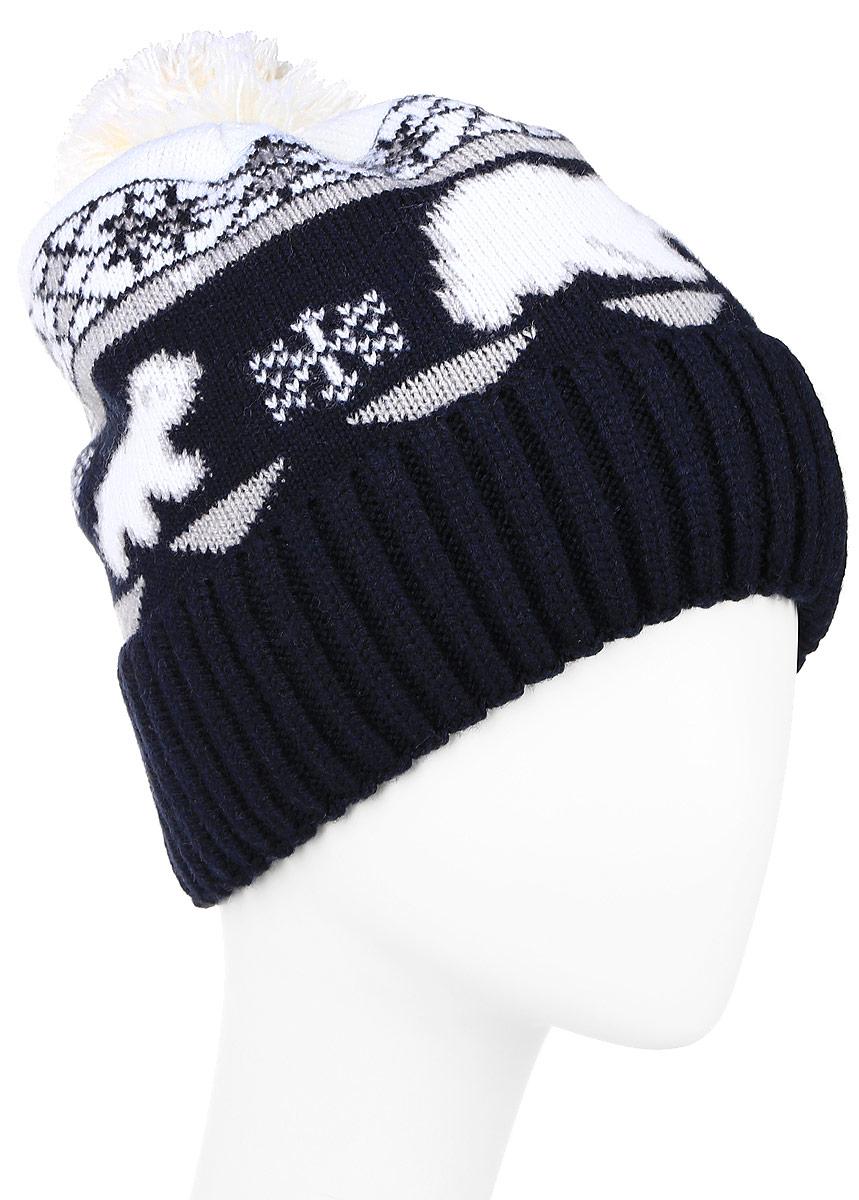 Шапка женская Finn Flare, цвет: темно-синий. W16-12130_101. Размер 56W16-12130_101Стильная женская шапка Finn Flare дополнит ваш наряд и не позволит вам замерзнуть в холодное время года. Шапка выполнена из акрила и шерсти, что позволяет ей великолепно сохранять тепло и обеспечивает высокую эластичность и удобство посадки. Внутри мягкая подкладка из полиэстера.Модель оформлена оригинальным орнаментом и дополнена пушистым помпоном.Такая шапка станет модным и стильным дополнением вашего гардероба.Уважаемые клиенты!Размер, доступный для заказа, является обхватом головы.