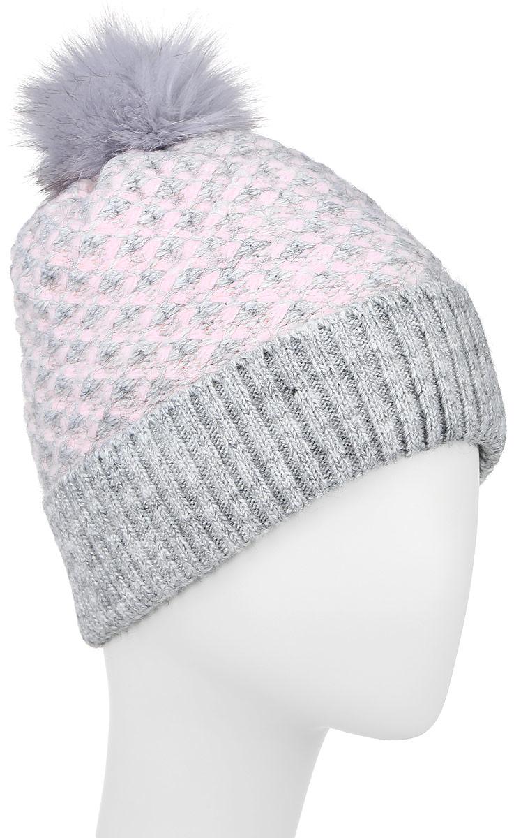 Шапка женская Finn Flare, цвет: светло-серый, розовый. W16-32126_211. Размер 56W16-32126_211Стильная женская шапка с отворотом Finn Flare дополнит ваш наряд и не позволит вам замерзнуть в холодное время года. Шапка выполнена из высококачественной пряжи, что позволяет ей великолепно сохранять тепло и обеспечивает высокую эластичность и удобство посадки.Модель оформлена оригинальной вязкой и дополнена пушистым помпоном. Такая шапка станет модным и стильным дополнением вашего гардероба.Уважаемые клиенты!Размер, доступный для заказа, является обхватом головы.