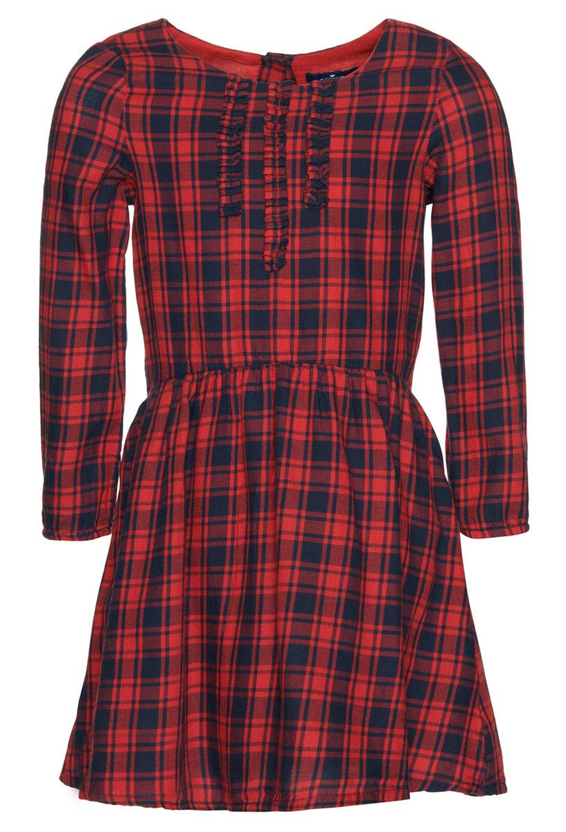 Платье Tom Tailor, цвет: красный. 5019453.00.81_4273. Размер 104/1105019453.00.81_4273Очаровательное платье Tom Tailor идеально подойдет вашей дочурке. Изделие выполнено из натурального хлопка и оформлено принтом в клетку. Модель с длинными рукавами и круглым воротником застегивается на пуговицу, расположенную на спинке.