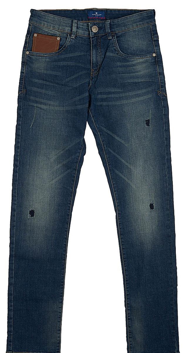 Джинсы для мальчика Tom Tailor, цвет: синий. 6205099.00.30_1195. Размер 1526205099.00.30_1195Джинсы с дырками и эффектом потертости ткани содержат эластан для идеальной посадки. Классический пятикарманный стиль, потайная застежка-молния. Средняя линия талии и узкий крой штанин.
