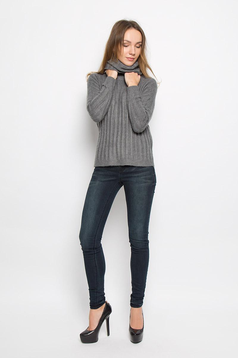 Свитер женский Broadway Tavia, цвет: серый. 10156935_833. Размер XS (42)10156935_833Стильный женский свитер, выполненный из качественной комбинированной пряжи, отлично дополнит ваш образ и согреет в холодную погоду. Модель с воротником-гольф и длинными рукавами по бокам дополнена небольшими разрезами.