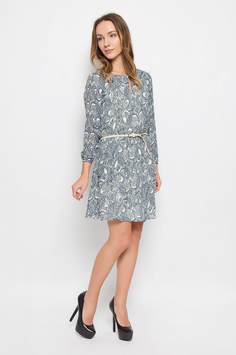 Платье Broadway Orly, цвет: синий, бежевый. 10156476_526. Размер L (48)10156476_526Стильное платье выполненное из полиэстера на гладкой полупрозрачной подкладке идеально дополнит ваш образ. Модель с длинными рукавами-реглан и круглым вырезом горловины на спинке застегивается на пуговицу. На талии платье дополнено эластичной резинкой. Манжеты рукавов дополнены пуговицами. Модель имеет два втачных кармана. В комплект входит ремень с металлической пряжкой.