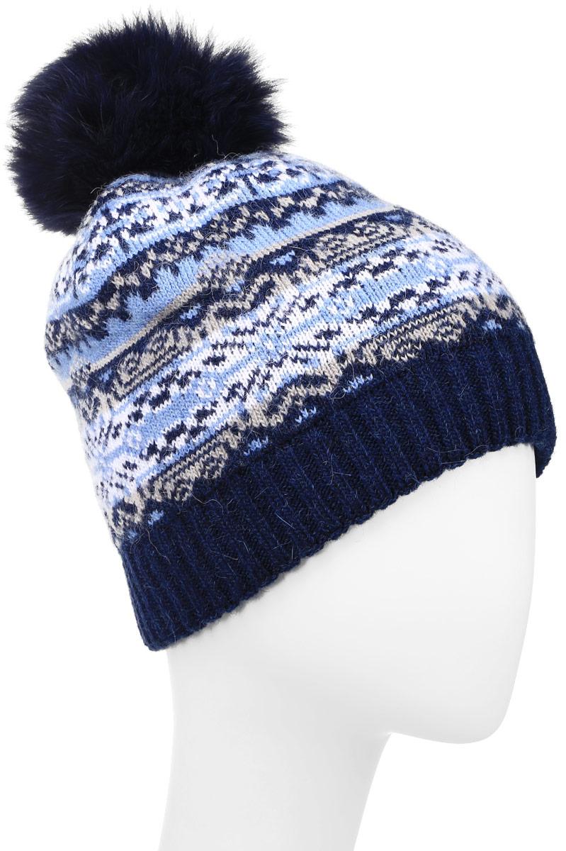 Шапка женская Finn Flare, цвет: темно-синий. W16-12117_101. Размер 56W16-12117_101Стильная женская шапка Finn Flare дополнит ваш наряд и не позволит вам замерзнуть в холодное время года. Шапка выполнена из высококачественной пряжи, что позволяет ей великолепно сохранять тепло и обеспечивает высокую эластичность и удобство посадки.Модель оформлена оригинальным орнаментом и дополнена пушистым помпоном из меха песца. Такая шапка станет модным и стильным дополнением вашего гардероба.Уважаемые клиенты!Размер, доступный для заказа, является обхватом головы.