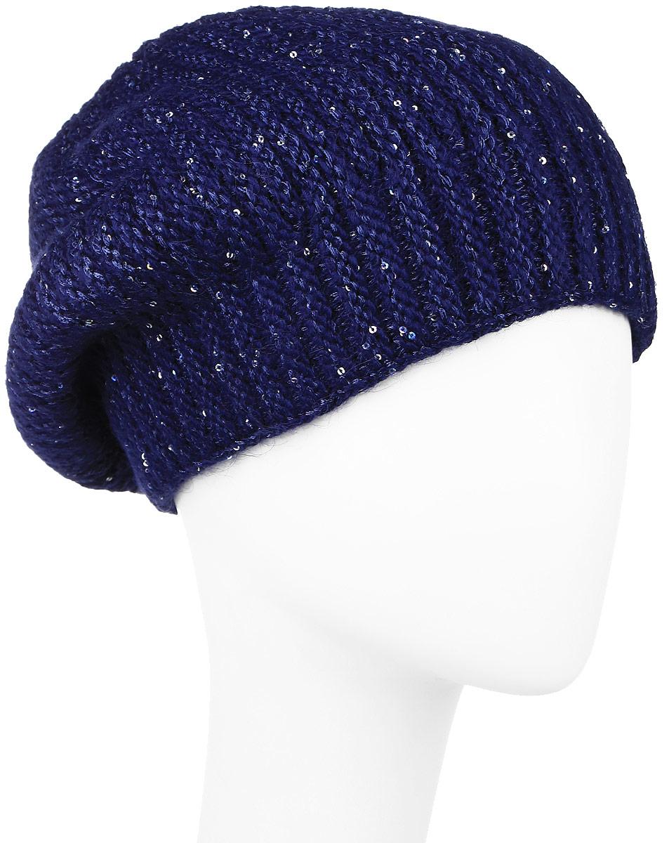 Шапка женская Finn Flare, цвет: темно-синий. W16-11139_101. Размер 56W16-11139_101Стильная женская шапка Finn Flare дополнит ваш наряд и не позволит вам замерзнуть в холодное время года. Шапка выполнена из высококачественной пряжи, что позволяет ей великолепно сохранять тепло и обеспечивает высокую эластичность и удобство посадки. Модель оформлена металлической пластиной с названием бренда и украшена пайетками.Уважаемые клиенты!Размер, доступный для заказа, является обхватом головы.