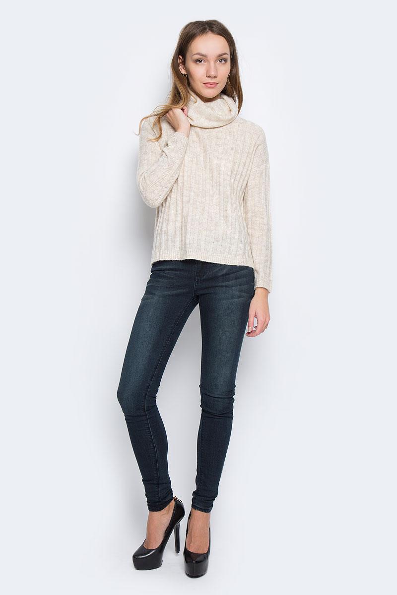 Свитер женский Broadway Tavia, цвет: бежевый. 10156935_703. Размер S (44)10156935_703Стильный женский свитер, выполненный из качественной комбинированной пряжи, отлично дополнит ваш образ и согреет в холодную погоду. Модель с воротником-гольф и длинными рукавами по бокам дополнена небольшими разрезами.
