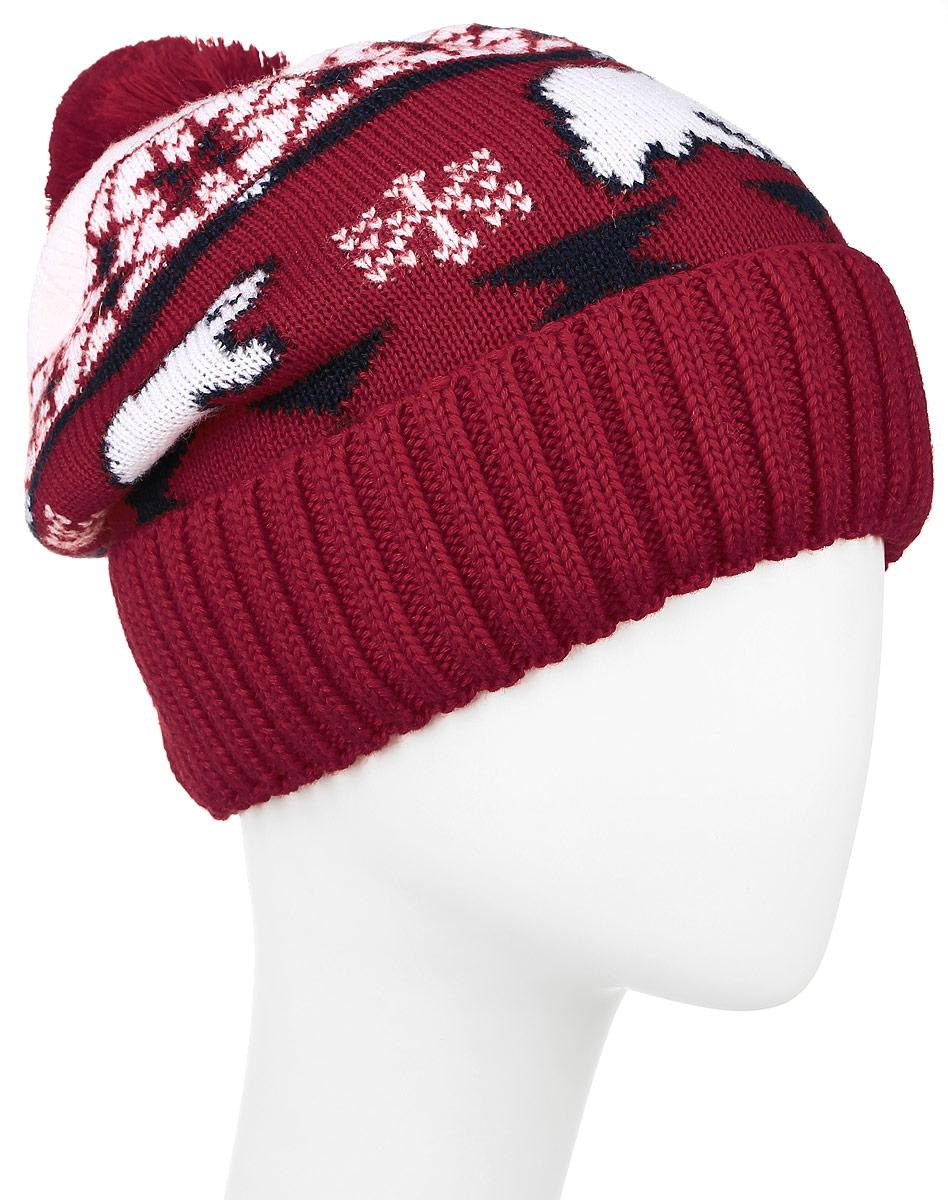 Шапка женская Finn Flare, цвет: красный. W16-12130_300. Размер 56W16-12130_300Стильная женская шапка Finn Flare дополнит ваш наряд и не позволит вам замерзнуть в холодное время года. Шапка выполнена из акрила и шерсти, что позволяет ей великолепно сохранять тепло и обеспечивает высокую эластичность и удобство посадки. Внутри мягкая подкладка из полиэстера.Модель оформлена оригинальным орнаментом и дополнена пушистым помпоном.Такая шапка станет модным и стильным дополнением вашего гардероба.Уважаемые клиенты!Размер, доступный для заказа, является обхватом головы.