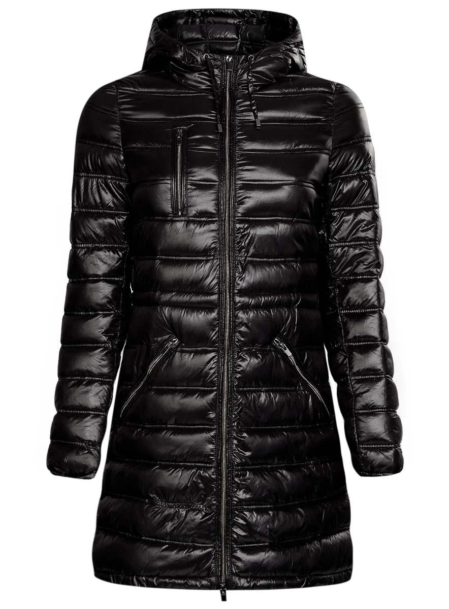 Куртка женская oodji Ultra, цвет: черный. 10203056/33445/2900N. Размер 38 (44-170)10203056/33445/2900NЖенская куртка oodji Ultra выполнена из 100% полиамида. В качестве подкладки также используется полиамид, а утеплителем служит 100% полиэстер. Модель с несъемным капюшоном застегивается на застежку-молнию с внутренней ветрозащитной планкой. Край капюшона и низ изделия дополнены шнурком-кулиской. Низ рукавов присобран на резинку. Спереди расположено три прорезных кармана на застежках-молниях, один из которых расположен на груди.