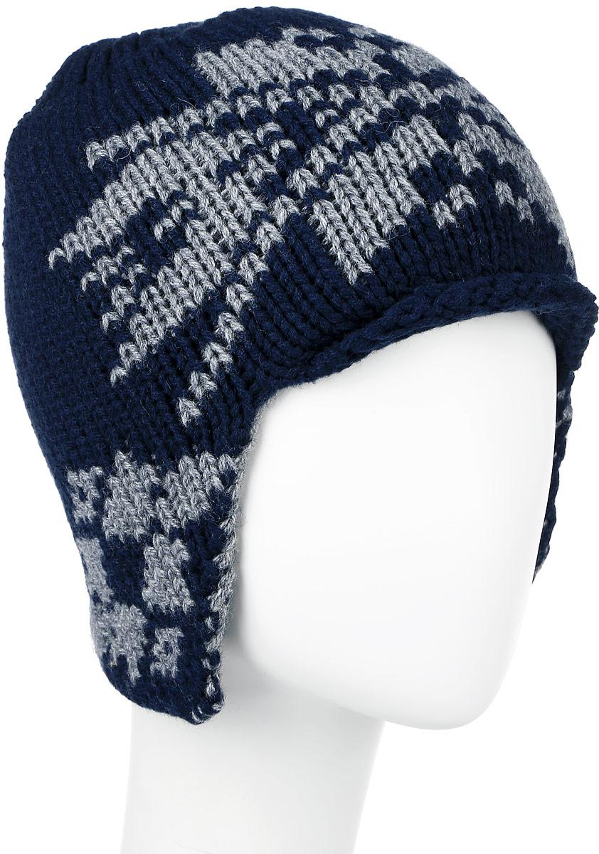 Шапка мужская Finn Flare, цвет: темно-синий, серый. W16-22118_101. Размер 58W16-22118_101Теплая мужская шапка Finn Flare отлично дополнит ваш образ в холодную погоду. Сочетание теплой шерсти и акрила максимально сохраняет тепло и обеспечивает удобную посадку, невероятную легкость и мягкость.Шапка по бокам немного удлинена и украшена металлическим декоративным элементом с названием бренда.Незаменимая вещь на прохладную погоду. Модель составит идеальный комплект с модной верхней одеждой, в ней вам будет уютно и тепло.Уважаемые клиенты!Размер, доступный для заказа, является обхватом головы.