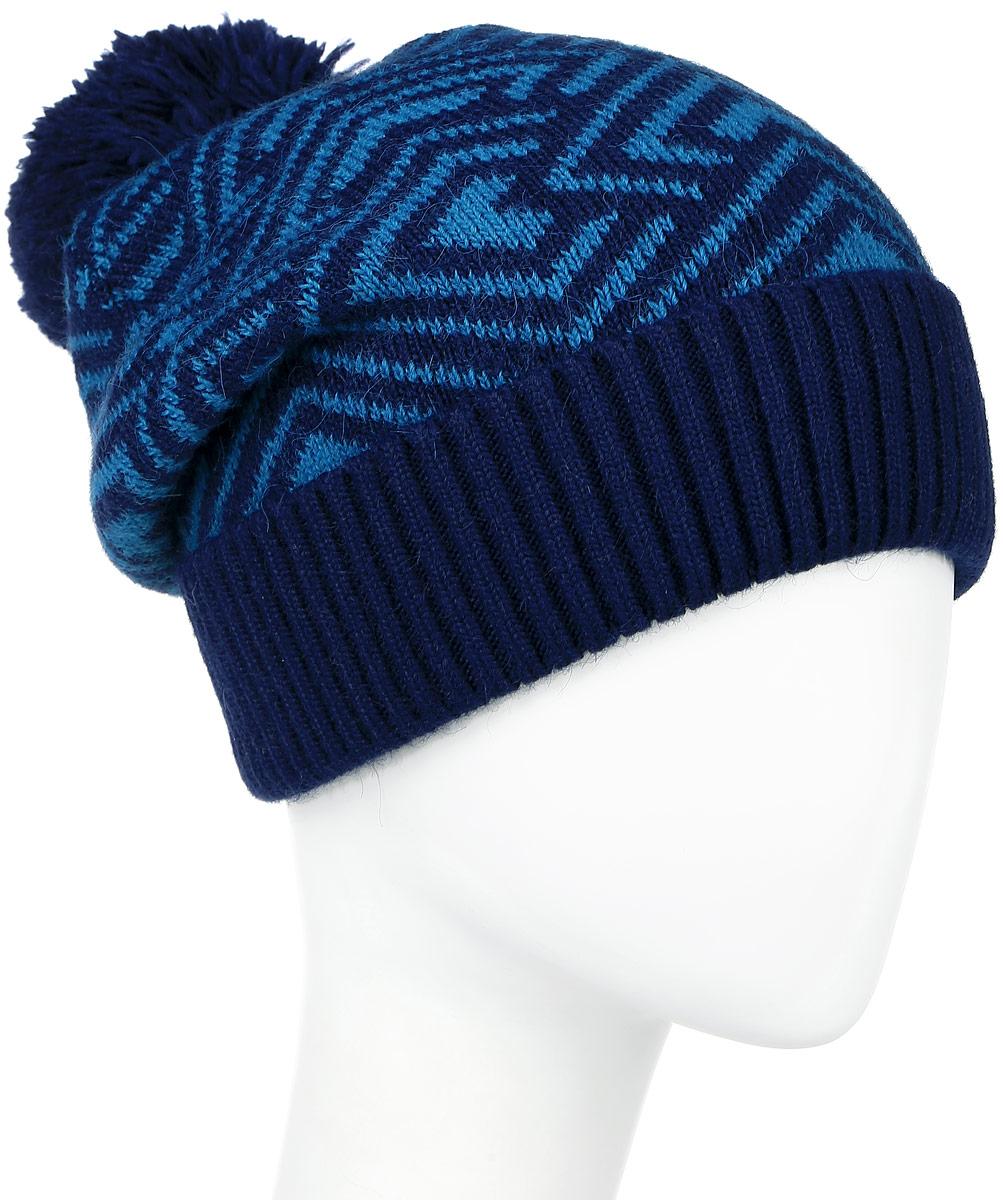 Шапка женская Finn Flare, цвет: темно-синий, синий. W16-32120_101. Размер 56W16-32120_101Стильная женская шапка Finn Flare дополнит ваш наряд и не позволит вам замерзнуть в холодное время года. Шапка выполнена из высококачественной пряжи, что позволяет ей великолепно сохранять тепло и обеспечивает высокую эластичность и удобство посадки. Модель оформлена брендовой металлической пластиной и дополнена пушистым помпоном. Уважаемые клиенты!Размер, доступный для заказа, является обхватом головы.