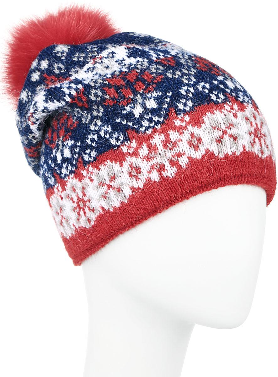 Шапка женская Finn Flare, цвет: темно-синий, белый, красный. W16-12125_101. Размер 56W16-12125_101Теплая женская шапка Finn Flare, выполненная из высококачественной пряжи, отлично дополнит ваш образ в холодную погоду.Модель дополнена металлической пластиной с названием бренда и пушистым помпоном из натурального меха. Сзади шапка украшена декоративной складкой. Уважаемые клиенты!Размер, доступный для заказа, является обхватом головы.