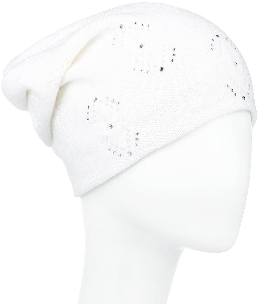 Шапка женская Finn Flare, цвет: белый. W16-11124_201. Размер 56W16-11124_201Стильная женская шапка Finn Flare дополнит ваш наряд и не позволит вам замерзнуть в холодное время года. Шапка выполнена из высококачественной пряжи, что позволяет ей великолепно сохранять тепло и обеспечивает высокую эластичность и удобство посадки.Спереди удлиненная модель оформлена металлической пластиной с названием бренда и стразами. Такая шапка станет модным и стильным дополнением вашего гардероба. Она согреет вас и позволит подчеркнуть свою индивидуальность!