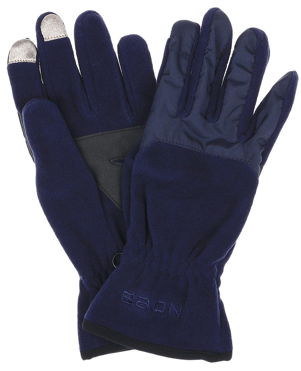 Перчатки женские Baon, цвет: синий. B366517. Размер M (48)B366517_DARK NAVYПерчатки Baon выполнены из полиэстера и специально предназначены для работы со смартфонами и планшетами в холодное время года. Кончики указательного и среднего пальцев прошиты по специальной технологии, что позволяет работать с сенсорными экранами, не снимая перчаток. Ладонная часть выполнена из прочного материала, препятствующего скольжению. Модель легко снимается и надевается благодаря эластичной вставке на манжете. Для удобного хранения перчатки оснащены пластиковой застежкой, соединяющей их вместе.