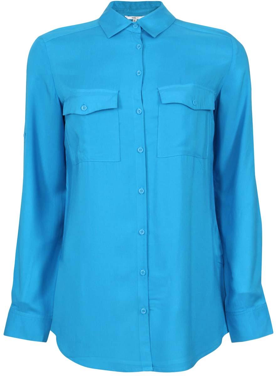 Блузка женская oodji Ultra, цвет: голубой. 11400355-5/26346/7500N. Размер 36 (42-170)11400355-5/26346/7500NОригинальная женская блузка oodji Ultra, выполненная из качественной вискозы, не оставит вас без внимания. Модель с длинными рукавами и отложным воротником застегивается спереди на пуговицы. Оформлена блузка двумя накладными карманами с клапанами на пуговицах. Рукава изделия дополнены внутренними хлястиками с помощью которых можно регулировать длину.