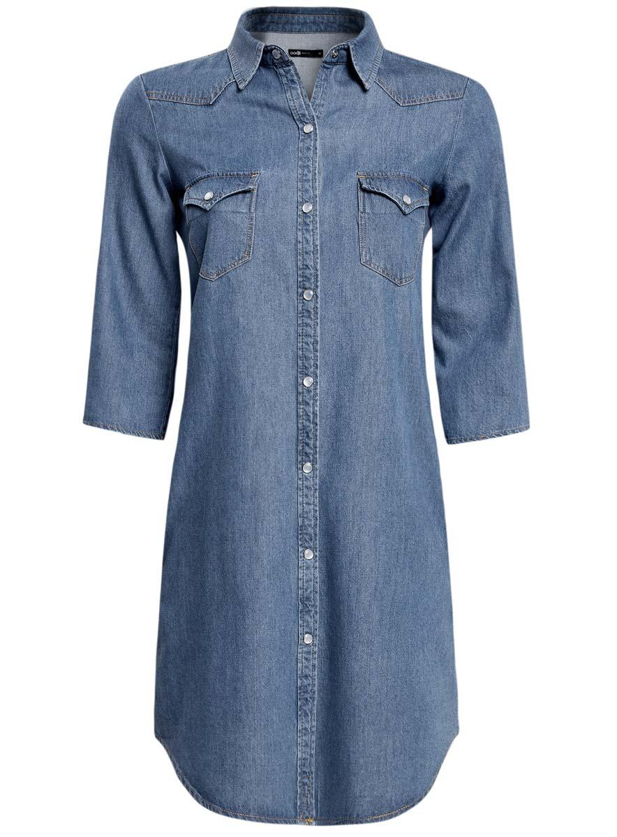 Платье oodji Ultra, цвет: голубой джинса. 12909041/45251/7500W. Размер 34 (40-170)12909041/45251/7500WПлатье oodji Ultra исполнено из денима. Имеет классический воротничок, два кармана по бокам от бедер и два на груди, рукава 3/4. Застегивается спереди на металлические пуговицы.