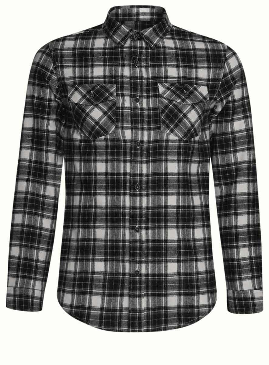 Рубашка мужская oodji, цвет: белый, черный. 3L310133M/44528N/1029C. Размер L (52/54-182)3L310133M/44528N/1029CСтильная мужская рубашка oodji выполнена из высококачественного хлопка. Модель с отложным воротником и длинными рукавами застегивается на пуговицы спереди. Манжеты рукавов дополнены застежками-пуговицами. Оформлена рубашка контрастным принтом в клетку и дополнена двумя нагрудными карманами с планками на кнопках.