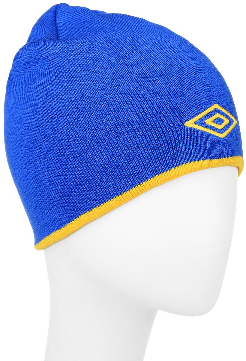 Шапка Umbro Training Beanie, цвет: синий, желтый. 509. Размер универсальный509_синий, желтыйЛегкая шапка для занятия спортом UMBRO Training Beanie из 100% акрила отлично дополнит ваш образ в холодную погоду. Оформлено изделие нашивкой с логотипом бренда. Такая шапка составит идеальный комплект с верхней одеждой, в ней вам будет уютно и тепло!