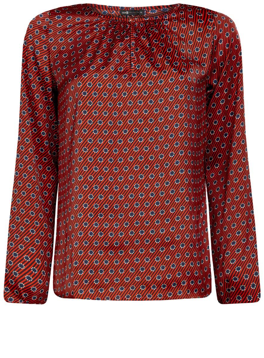 Блузка женская oodji Collection, цвет: темно-оранжевый, темно-синий. 21400321-2/33116/5979G. Размер 42 (48-170)21400321-2/33116/5979GЖенская стильная блузка oodji исполнена из гладкой воздушной ткани. Оформлена рукавами-баллонами и круглым аккуратным воротником с вырезом-капелькой, декорированным пуговкой. Отлично подойдет для создания утонченного образа, как в повседневном стиле, так и в полуделовом.
