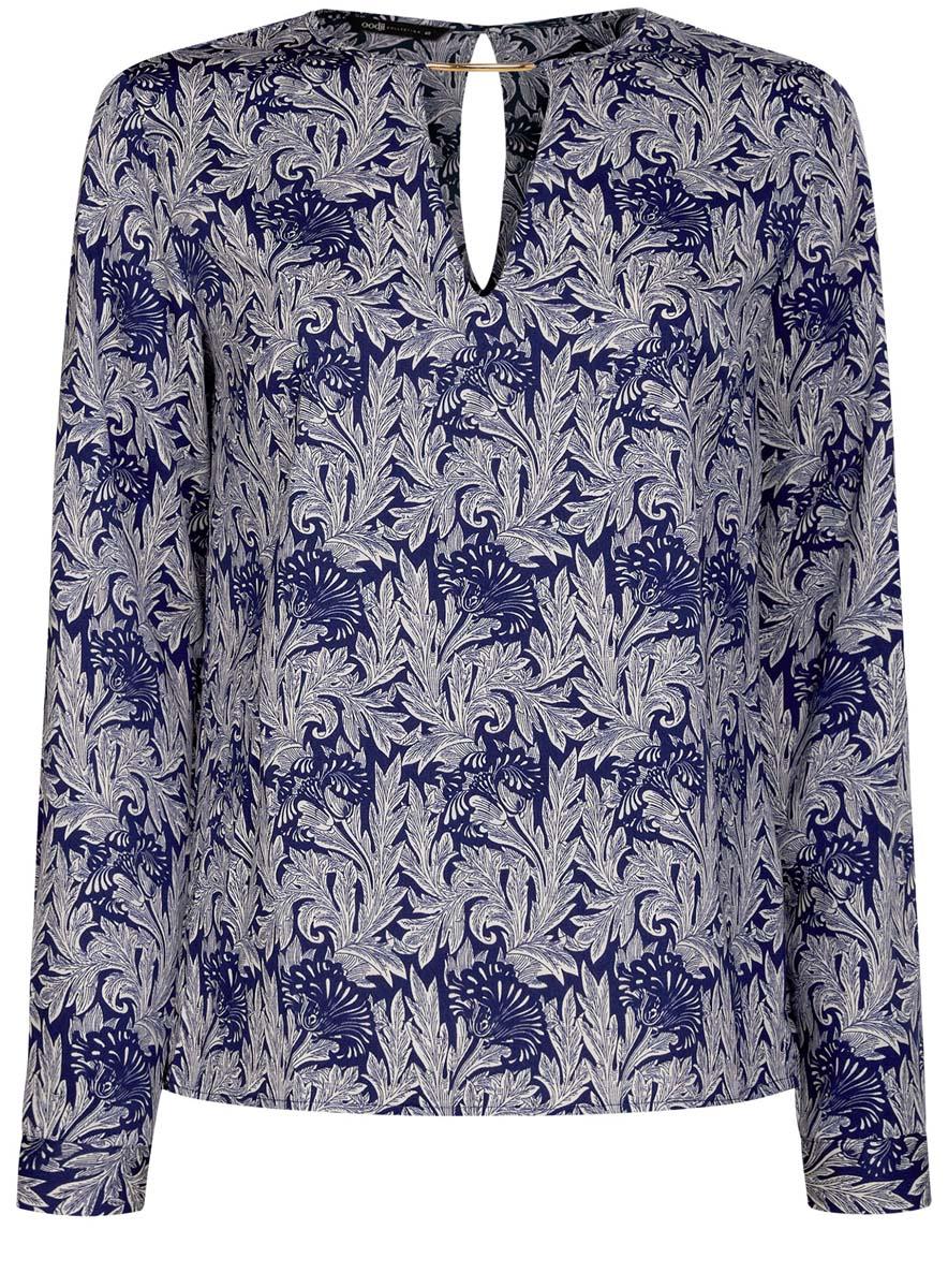 Блузка женская oodji Collection, цвет: синий, белый. 21400396/38580/7512O. Размер 38 (44-170)21400396/38580/7512OЖенская блузка oodji Collection изготовлена из легкой ткани свободного кроя. Блузка имеет длинные рукава и оригинальный вырез горловины, дополненный декоративной вставкой. На спинке так же имеется вырез-капелька. Застегивается сзади и на манжетах на металлические пуговицы.