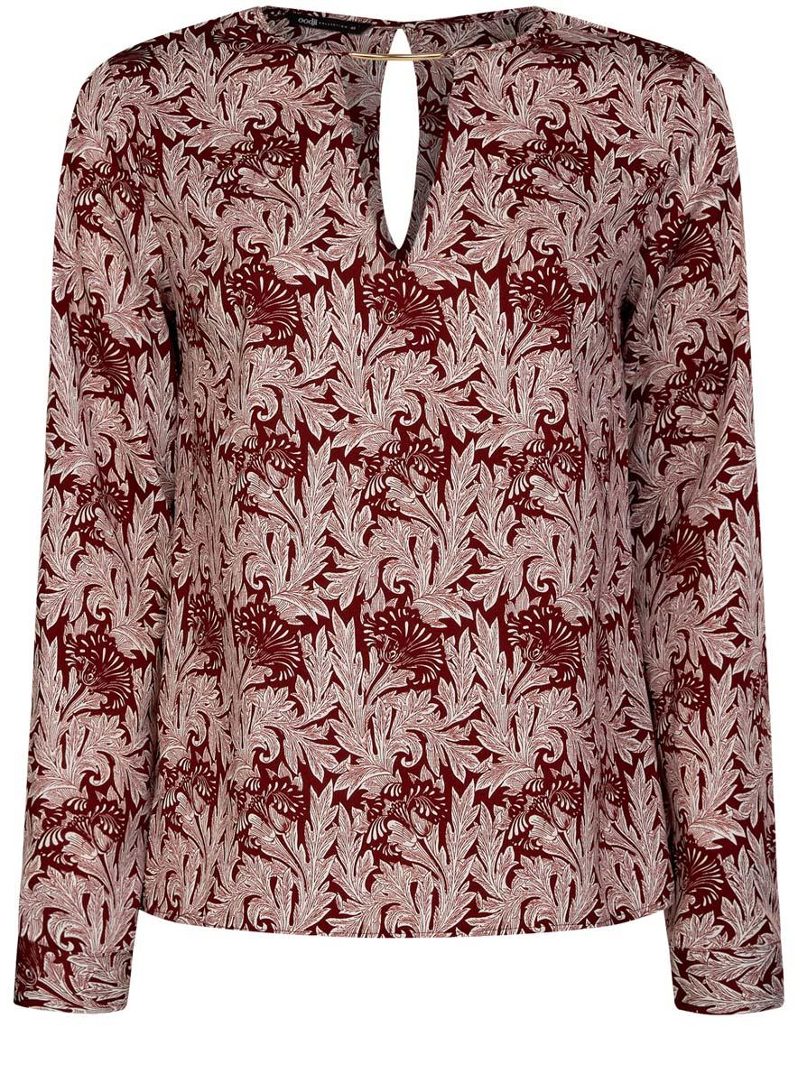 Блузка женская oodji Collection, цвет: бордовый, белый. 21400396/38580/4912O. Размер 40 (46-170)21400396/38580/4912OЖенская блузка oodji Collection изготовлена из легкой ткани свободного кроя. Блузка имеет длинные рукава и оригинальный вырез горловины, дополненный декоративной вставкой. На спинке так же имеется вырез-капелька. Застегивается сзади и на манжетах на металлические пуговицы.