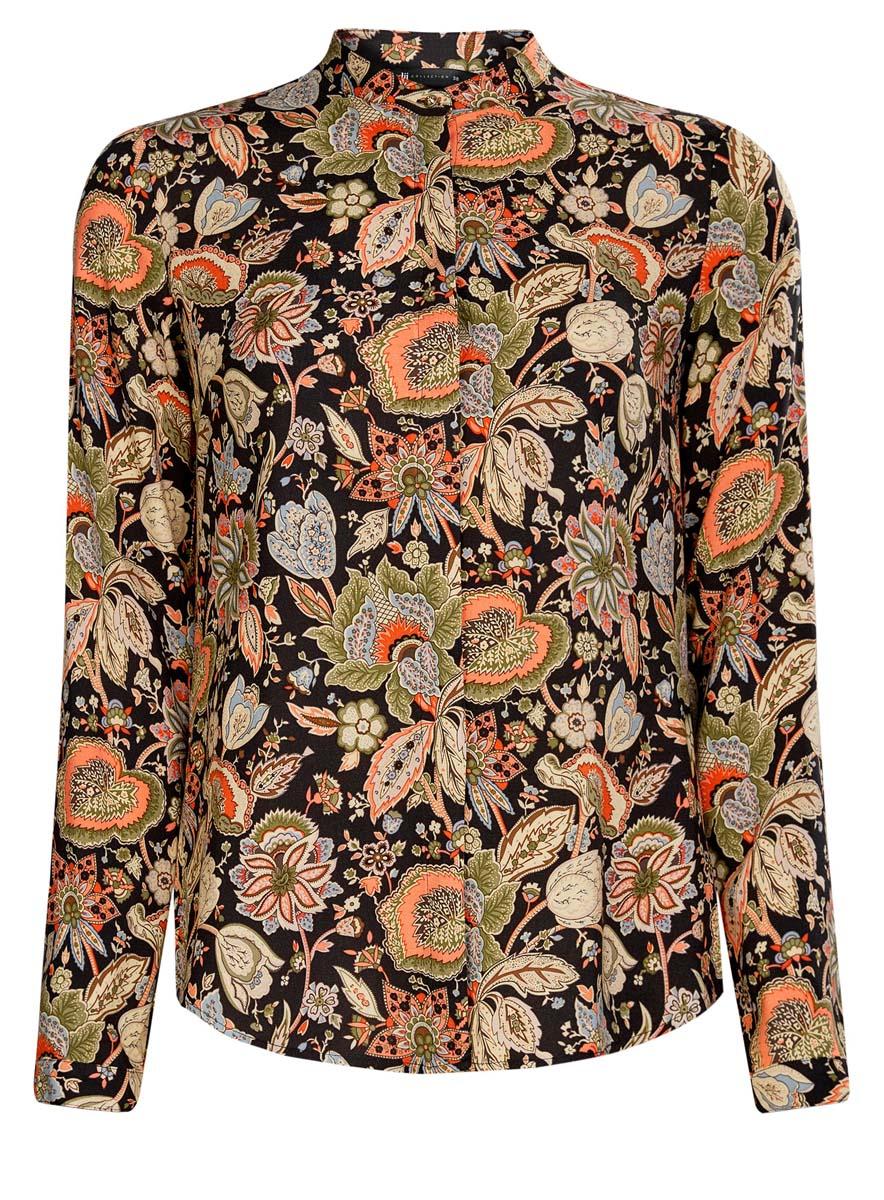 Блузка женская oodji Collection, цвет: черный, оранжевый. 21411063-2/26346/2955F. Размер 38 (44-170)21411063-2/26346/2955FОригинальная женская блузка oodji Collection, выполненная из качественной вискозы, не оставит вас без внимания. Модель с воротником-стойкой и длинными рукавами застегивается спереди на пуговицы скрытые планкой. Манжеты рукавов также имеют застежки-пуговицы. Оформлена блузка стильным принтом с узором.