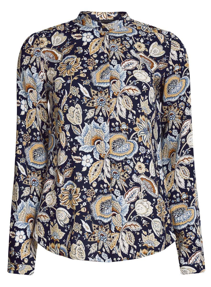 Блузка женская oodji Collection, цвет: темно-синий, бежевый. 21411063-2/26346/7933F. Размер 46 (52-170)21411063-2/26346/7933FОригинальная женская блузка oodji Collection, выполненная из качественной вискозы, не оставит вас без внимания. Модель с воротником-стойкой и длинными рукавами застегивается спереди на пуговицы скрытые планкой. Манжеты рукавов также имеют застежки-пуговицы. Оформлена блузка стильным принтом с узором.