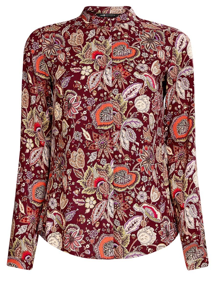 Блузка женская oodji Collection, цвет: бордовый, темно-оранжевый. 21411063-2/26346/4959F. Размер 40 (46-170)21411063-2/26346/4959FОригинальная женская блузка oodji Collection, выполненная из качественной вискозы, не оставит вас без внимания. Модель с воротником-стойкой и длинными рукавами застегивается спереди на пуговицы скрытые планкой. Манжеты рукавов также имеют застежки-пуговицы. Оформлена блузка стильным принтом с узором.