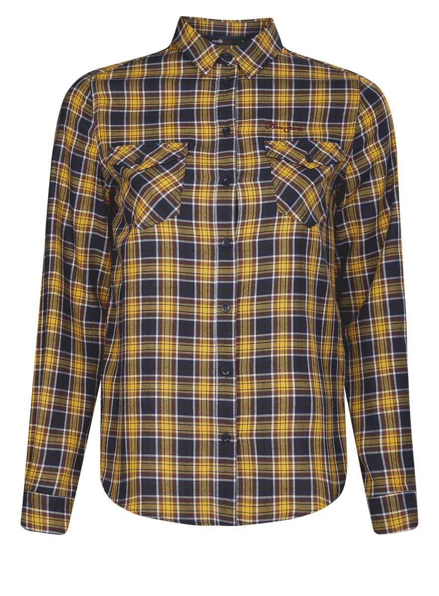 Рубашка женская oodji Ultra, цвет: темно-синий, желтый. 11400433-1/43223/7952C. Размер 36 (42-170)11400433-1/43223/7952CСтильная женская рубашка oodji Ultra выполнена из натурального хлопка. Модель с отложным воротником и длинными рукавами застегивается спереди на пуговицы. Манжеты на рукавах также имеют застежки-пуговицы. Оформлена рубашка модным принтом в клетку и дополнена двумя накладными карманами с клапанами на пуговицах.