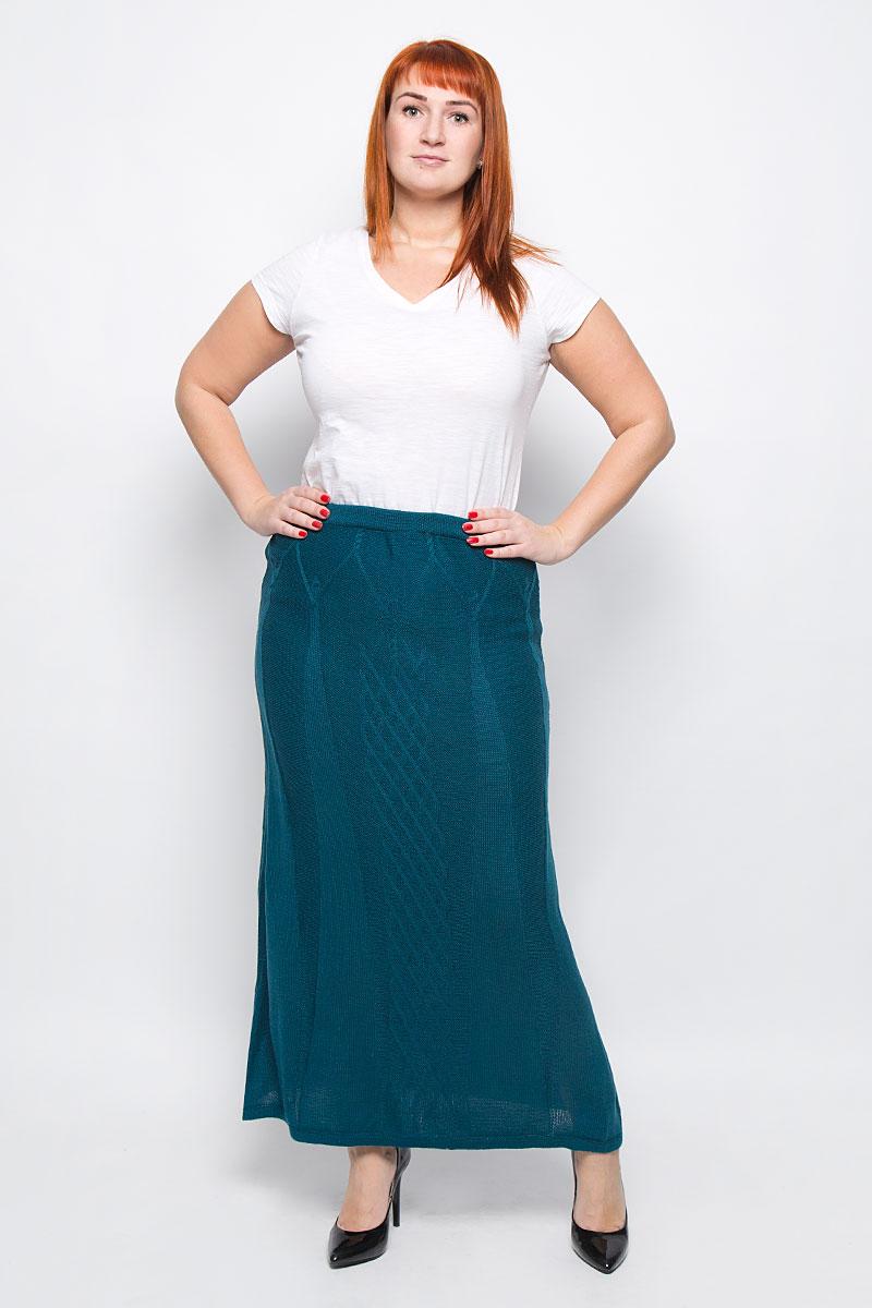 Юбка Milana Style, цвет: темно-бирюзовый. 1349. Размер XXL (52)1349Стильная вязаная юбка от Milana Style, выполненная из качественной пряжи, отлично дополнит ваш образ. Модель макси-длины связана оригинальным узором и на талии имеет широкую эластичную резинку.