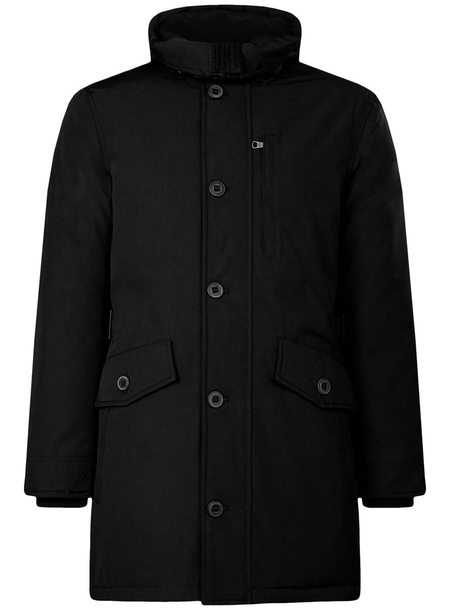 Куртка мужская oodji Lab, цвет: черный. 1L414003M/44429N/2900N. Размер S (46/48-182)1L414003M/44429N/2900NСтильная мужская куртка oodji Lab изготовлена из полиэстера с добавлением хлопка. В качестве утеплителя используется полиэстер.Куртка с несъемным капюшоном застегивается на застежку-молнию и дополнительно на клапан с пуговицами. Капюшон регулируется с помощью эластичного шнурка и ремешка. Спереди расположены четыре накладных кармана, два из которых с клапанами на пуговицах, на груди - прорезной карман на застежке-молнии, с внутренней стороны - два прорезных кармана на кнопках и накладной карман с клапаном на кнопке.Манжеты рукавов дополнены трикотажными напульсниками. На спинке по линии талии расположен регулирующий ремешок с пряжками.