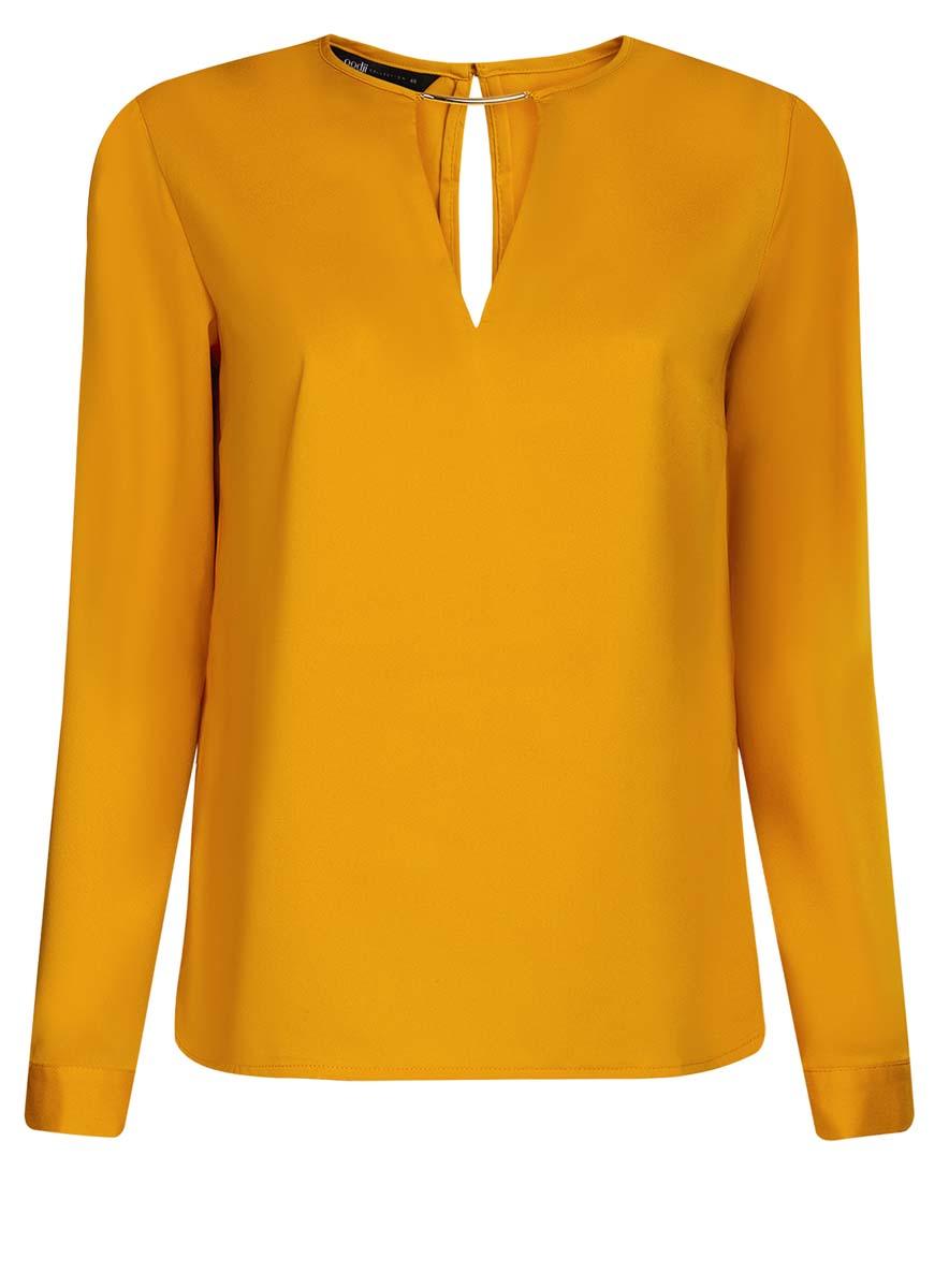 Блузка женская oodji Collection, цвет: желтый. 21400396/38580/5200N. Размер 38 (44-170)21400396/38580/5200NЖенская блузка oodji Collection изготовлена из легкой ткани свободного кроя. Блузка имеет длинные рукава и оригинальный вырез горловины, дополненный декоративной вставкой. На спинке так же имеется вырез-капелька. Застегивается сзади и на манжетах на металлические пуговицы.