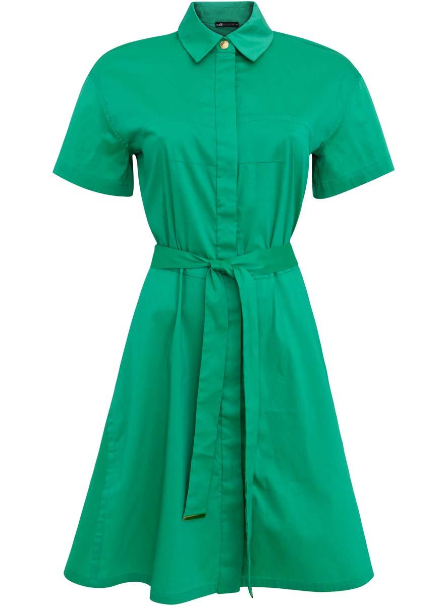 Платье oodji Collection, цвет: изумрудный. 21900311/42358/6D00N. Размер 42 (48-170)21900311/42358/6D00NСтильное платье-рубашка oodji Collection выполнено из хлопка с добавлением полиамида и полиуретана. Платье с отложным воротником застегивается на пуговицы и металлическую кнопку. Модель имеет короткий рукав, который регулируется при помощи хлястика с кнопкой. На талии изделие дополненопоясом.