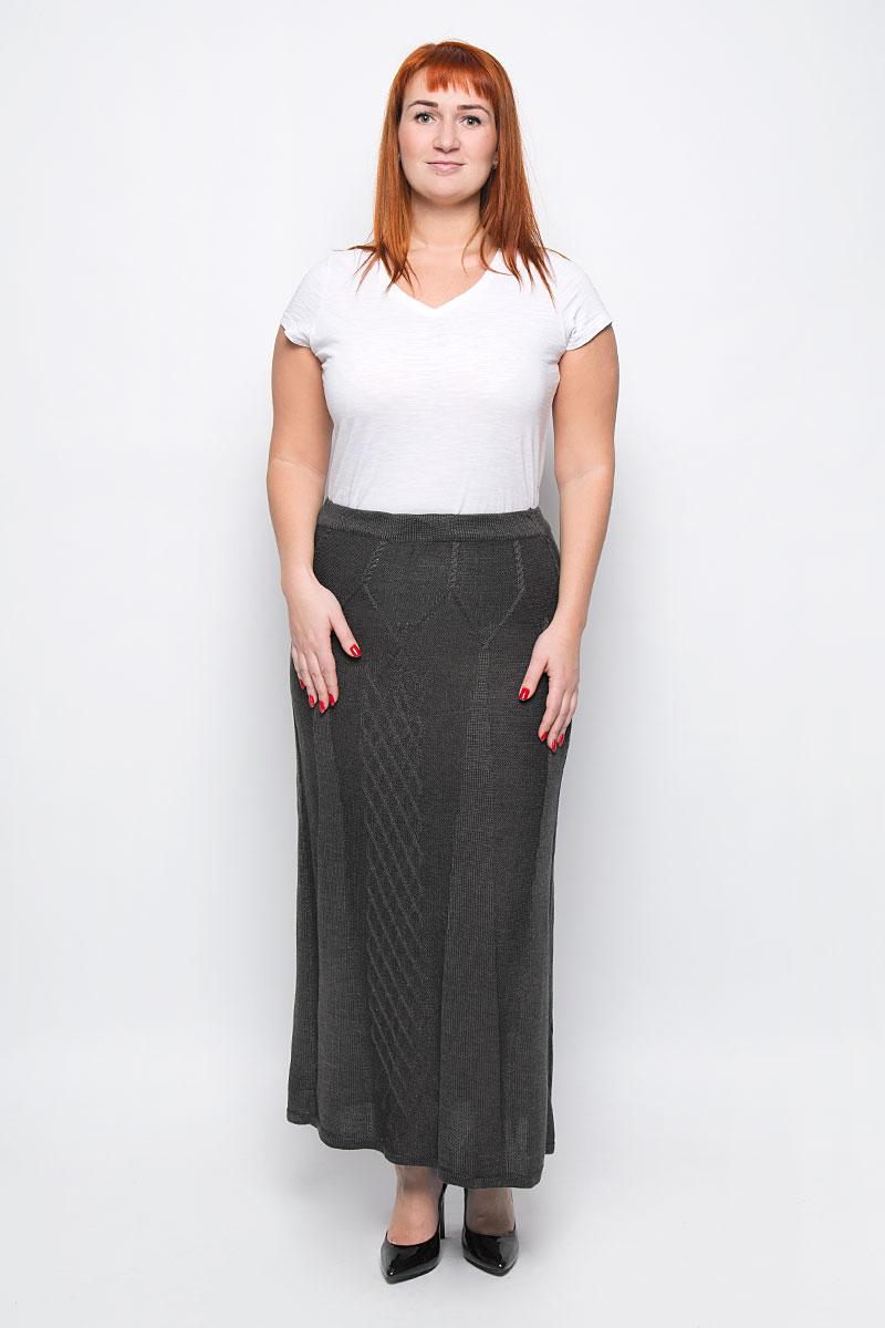 Юбка Milana Style, цвет: коричнево-серый. 1349. Размер XL (50)1349Стильная вязаная юбка от Milana Style, выполненная из качественной пряжи, отлично дополнит ваш образ. Модель макси-длины связана оригинальным узором и на талии имеет широкую эластичную резинку.